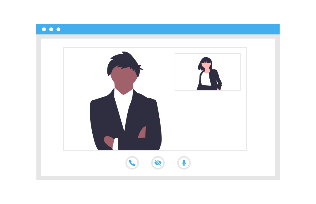 Image displaying cartoon image of man and women on zoom call
