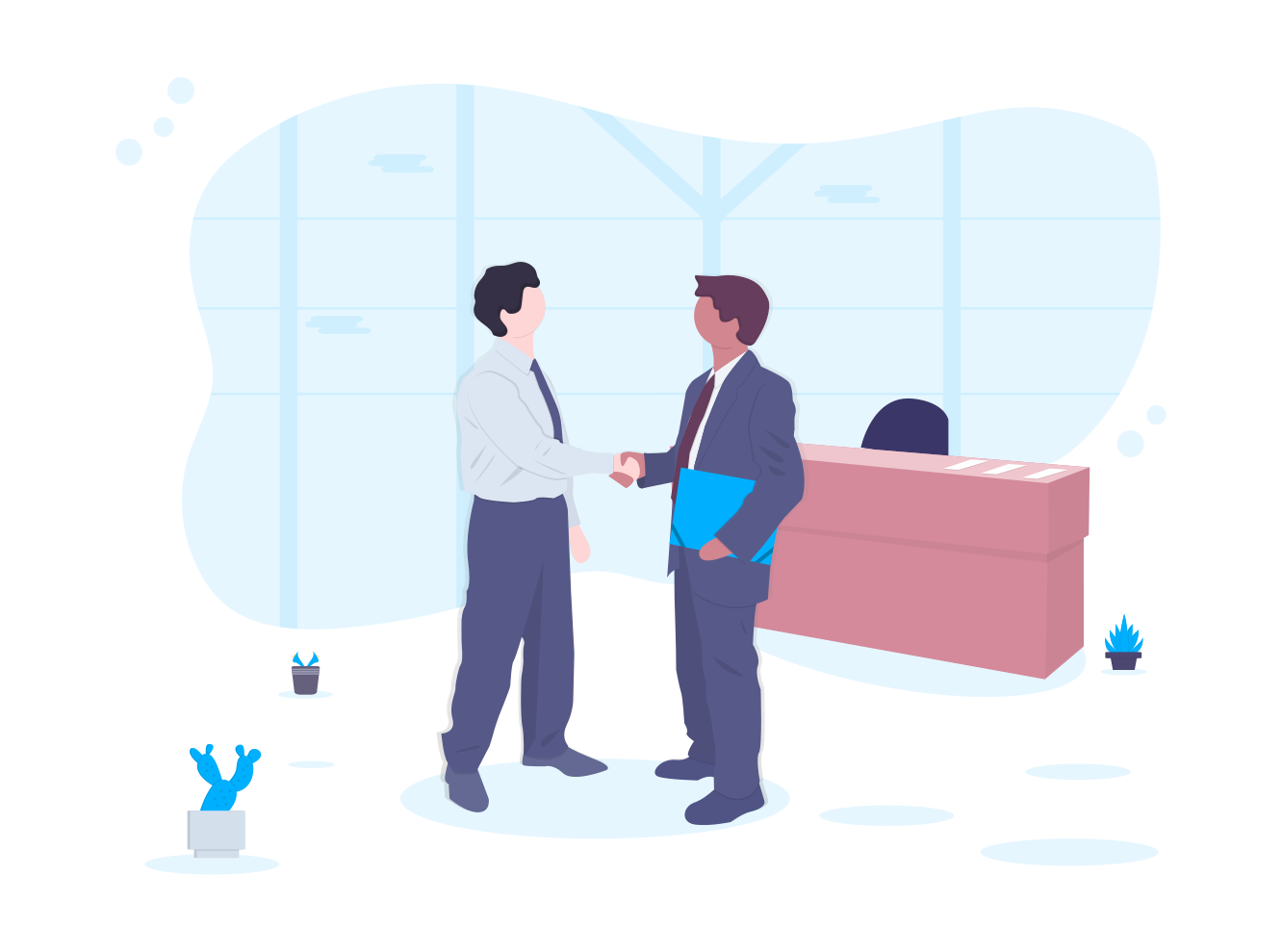 Image displaying cartoon drawing of 2 people shaking hands in business meeting