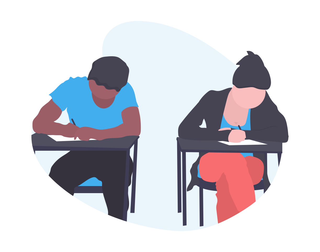 Image displaying cartoon drawing of 2 college taking exams